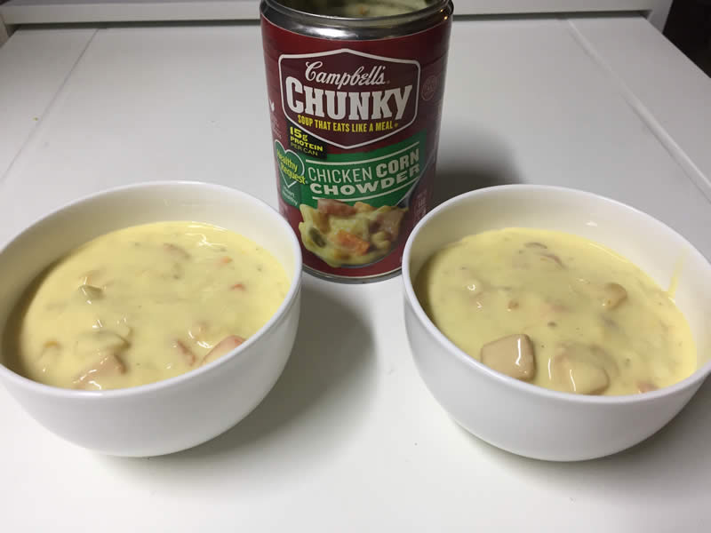 diabetes campbell's chicken corn chowder half a can