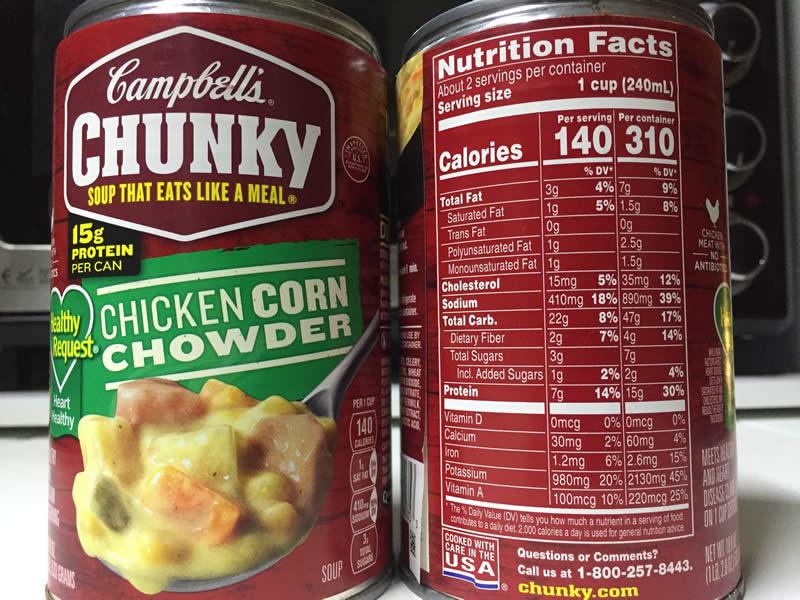 diabetes campbell's chicken corn chowder
